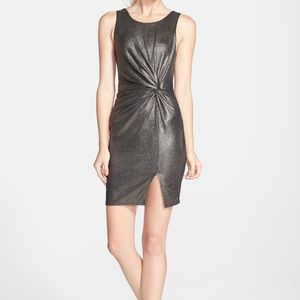 ASTR the Label Knit Front Metallic Cocktail Dress